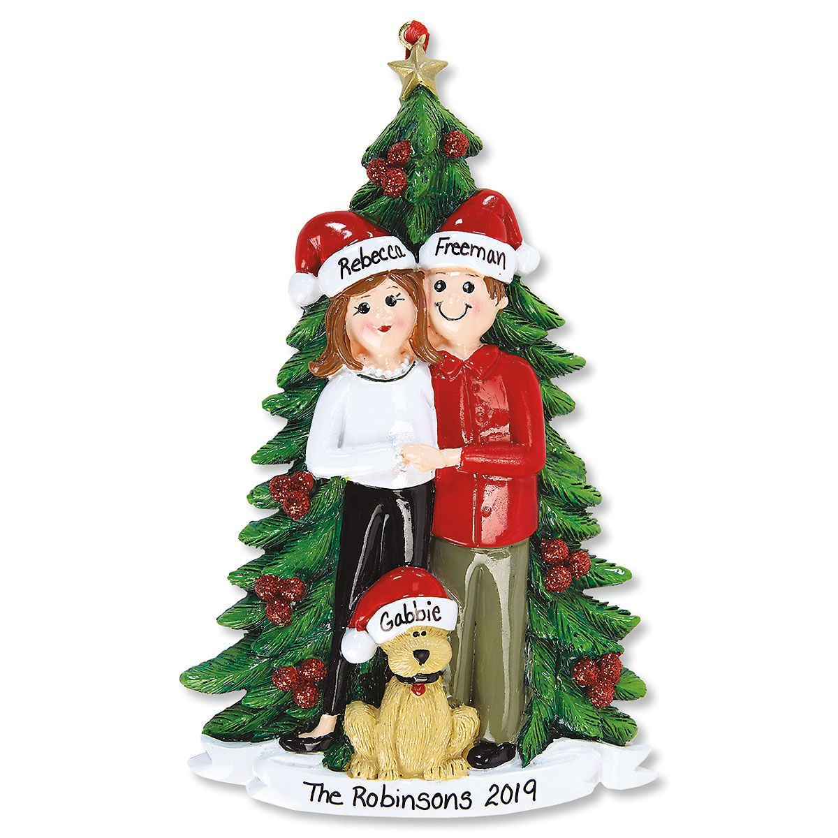 Christmas Couple with Dog Personalized Ornament