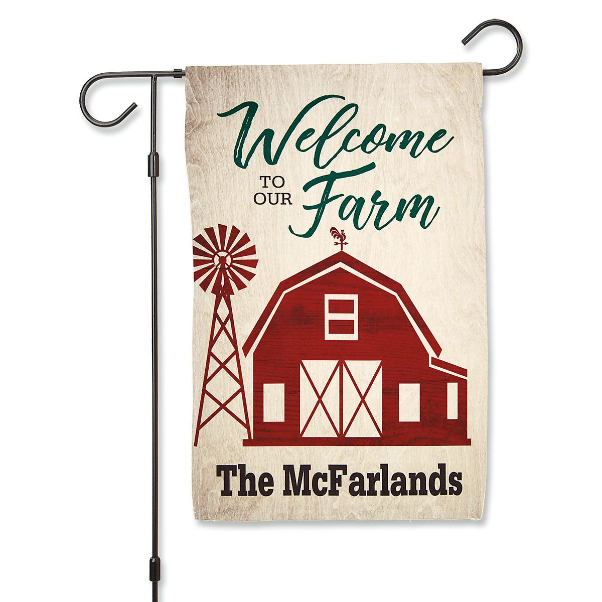 Red Barn Personalized Garden Flag