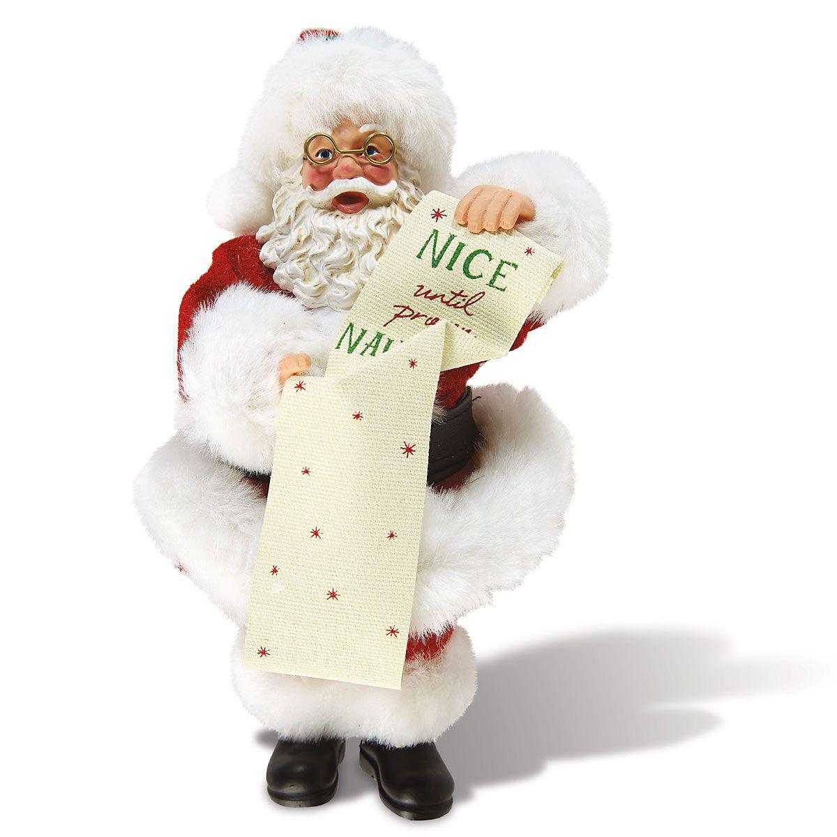 Nice Until Proven Naughty Santa Figurine