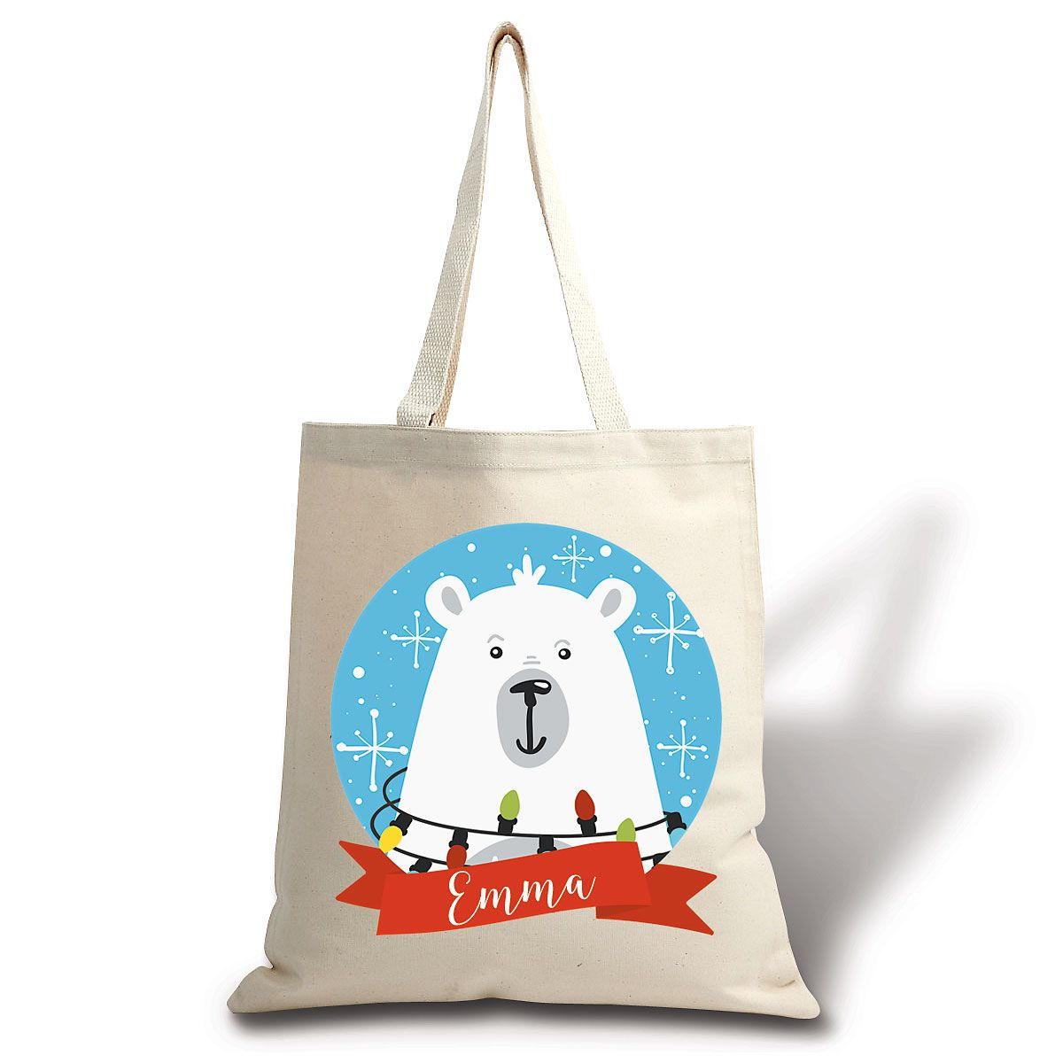 North Pole Bear Personalized Canvas Tote