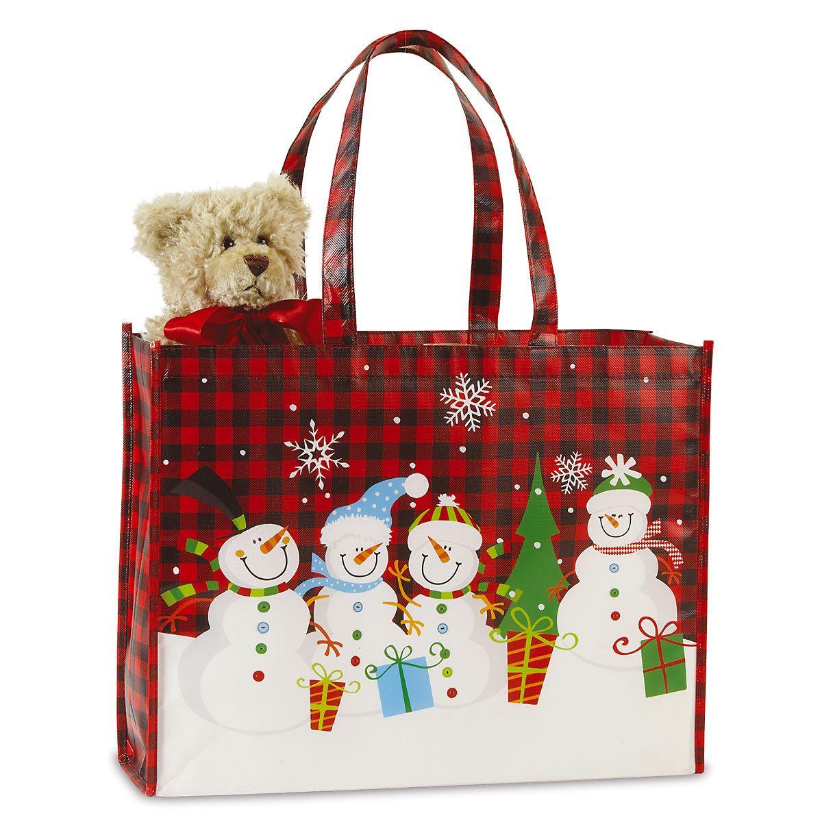Snowman Plaid Shopping Tote - BOGO
