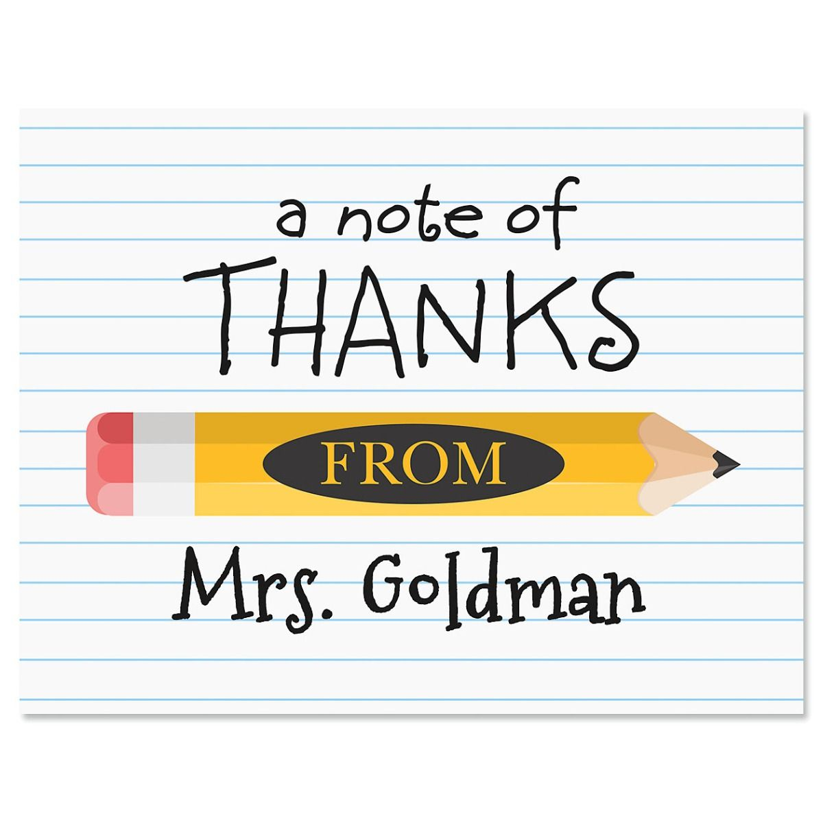 Yellow Pencil Personalized Note Cards