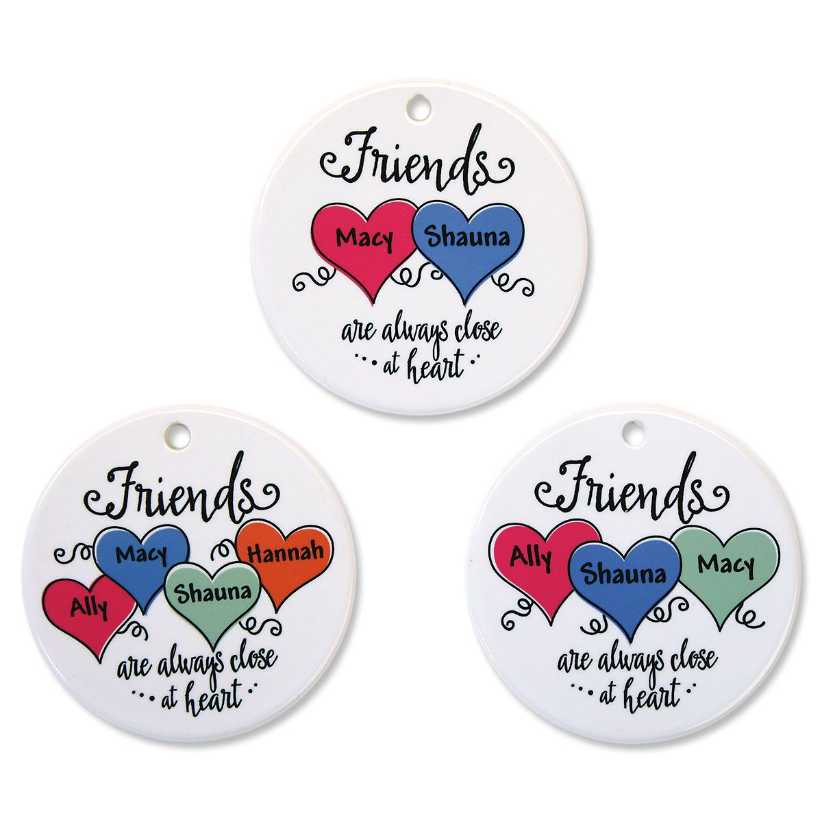 Friends Close At Heart Personalized Porcelain Ornament