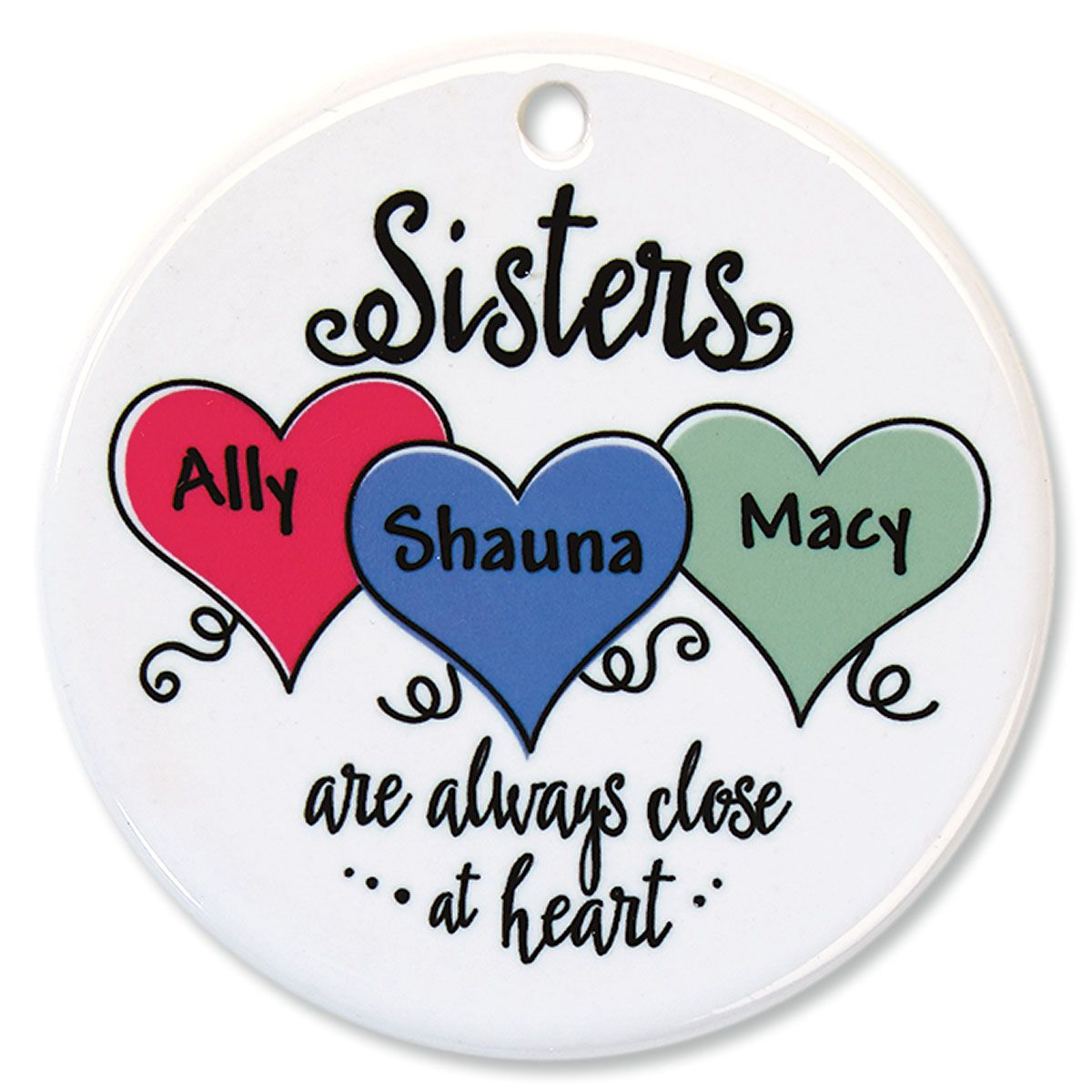 Sisters Close At Heart Personalized Porcelain Ornament
