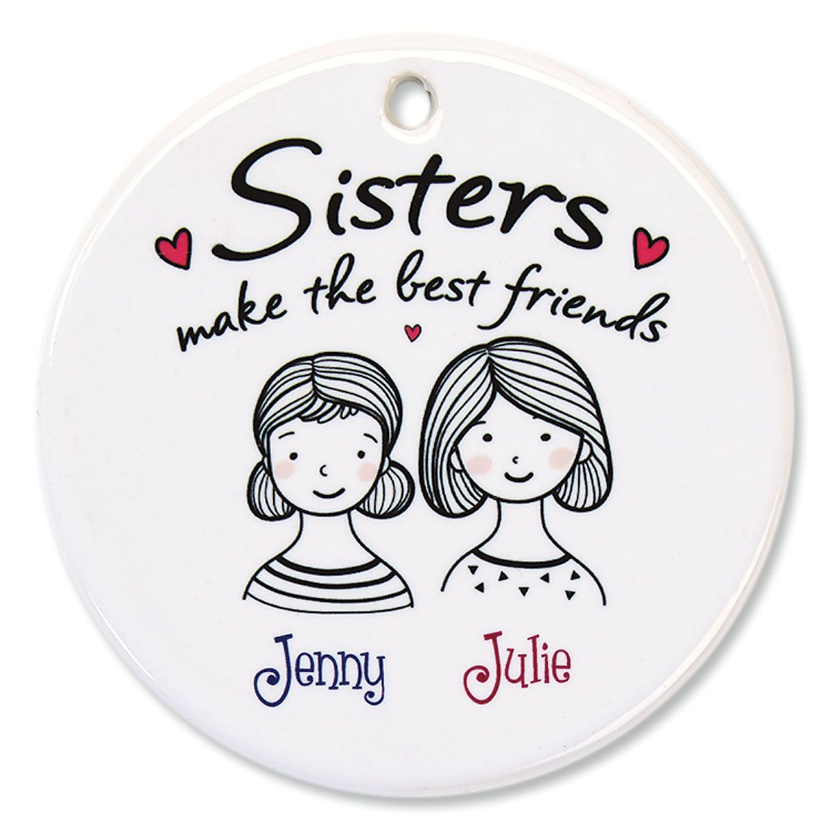 Sisters Personalized Porcelain Ornament