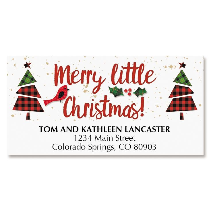 Little Plaid Christmas Tree Deluxe Address Labels