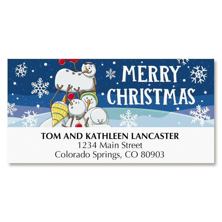 Tower of Snowmen Deluxe Address Labels