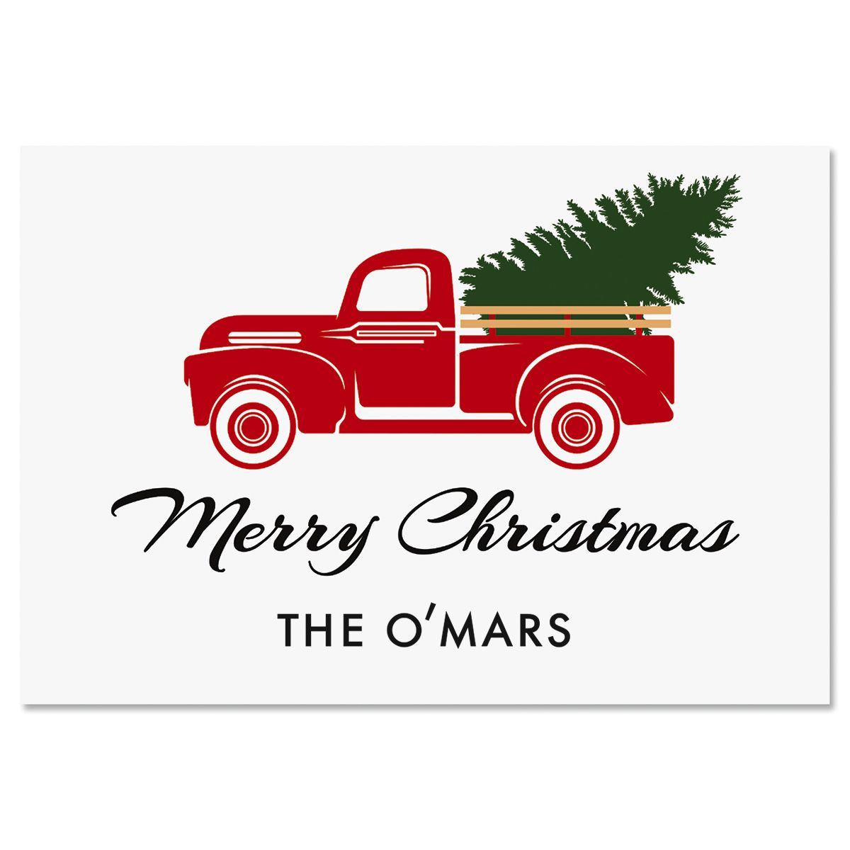 Vintage Red Truck Christmas Cards