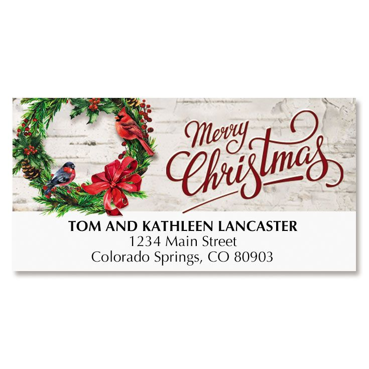 Christmas Wreath on Birch Deluxe Address Labels