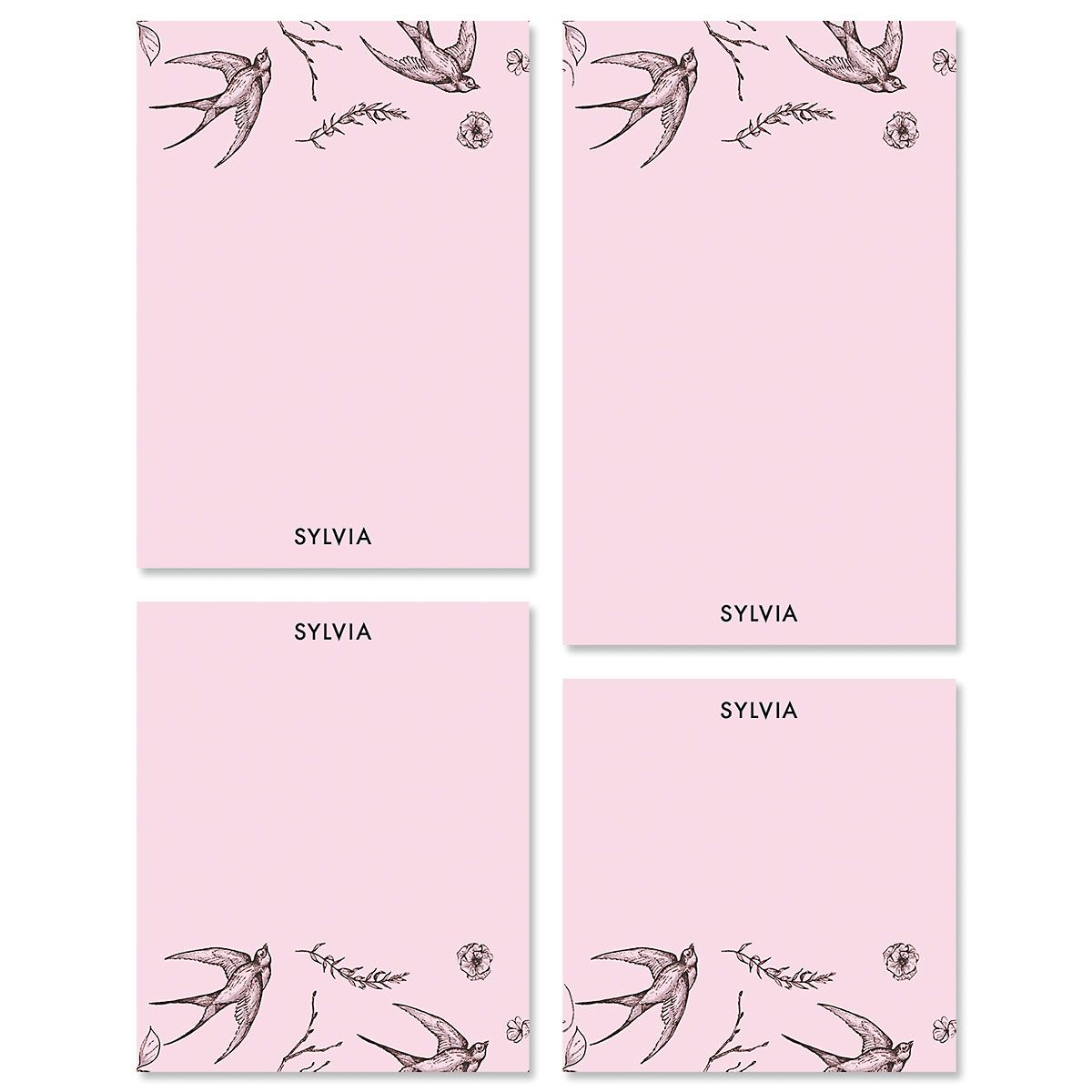 Swallow Pattern Personalized Notepad Set