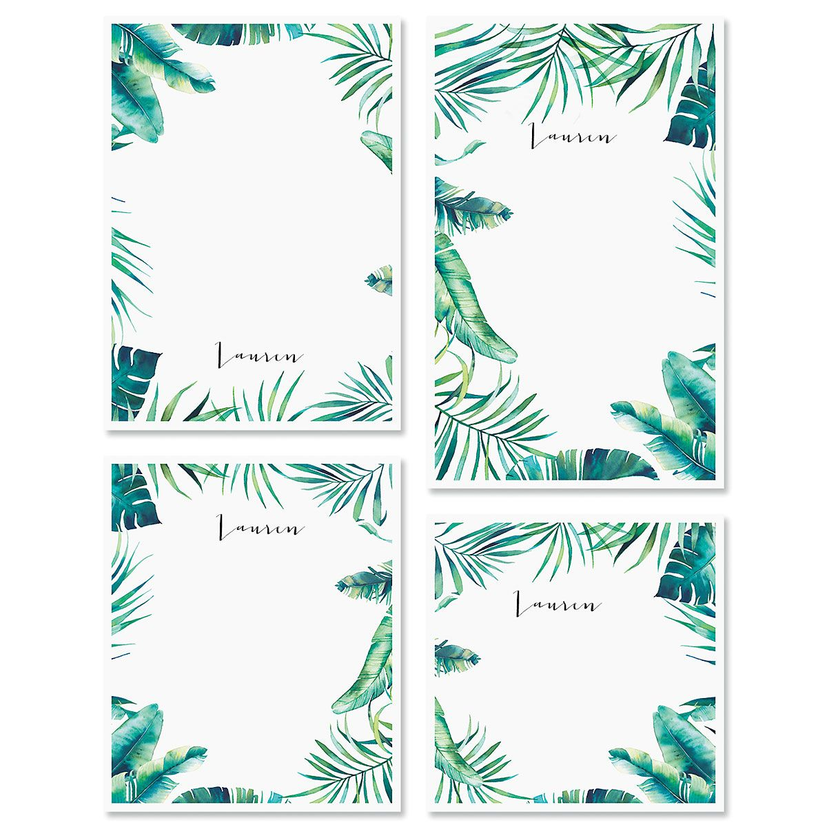 Leafy Greens Border Personalized Notepad Sets