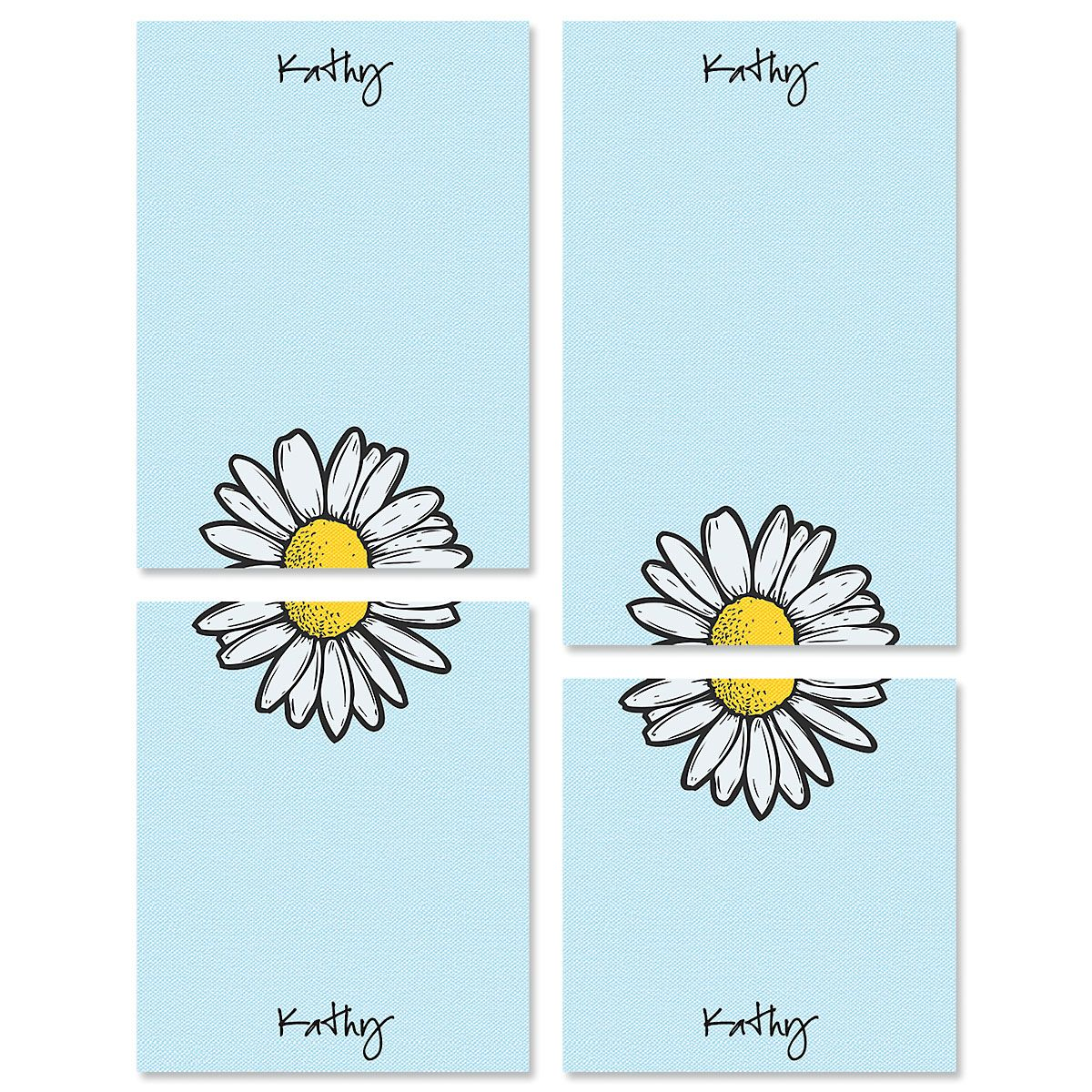 Textile Daisy Personalized Notepad Sets