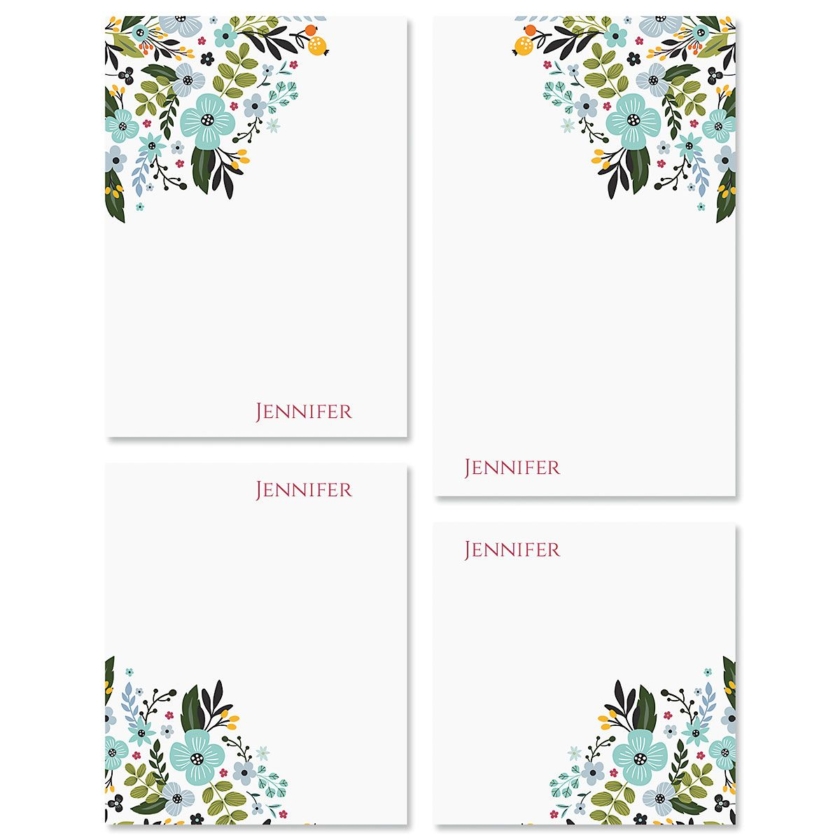 Aubrey Floral Personalized Notepad Sets