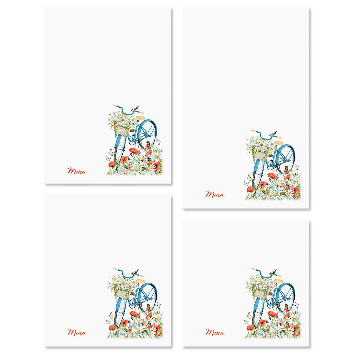 Floral Bike Personalized Notepad Sets