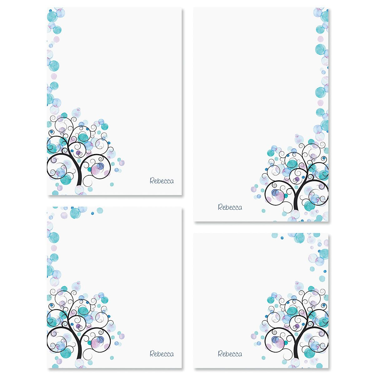 Watercolor Tree Personalized Notepad Sets