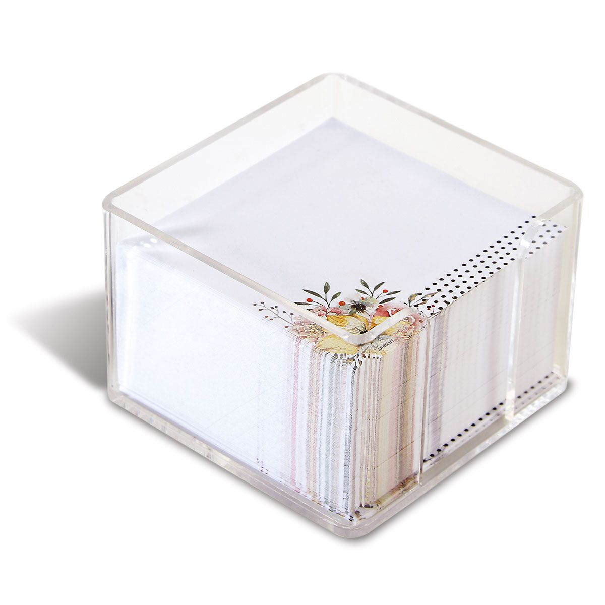 Floral Dots Personalized Notes in a Cube