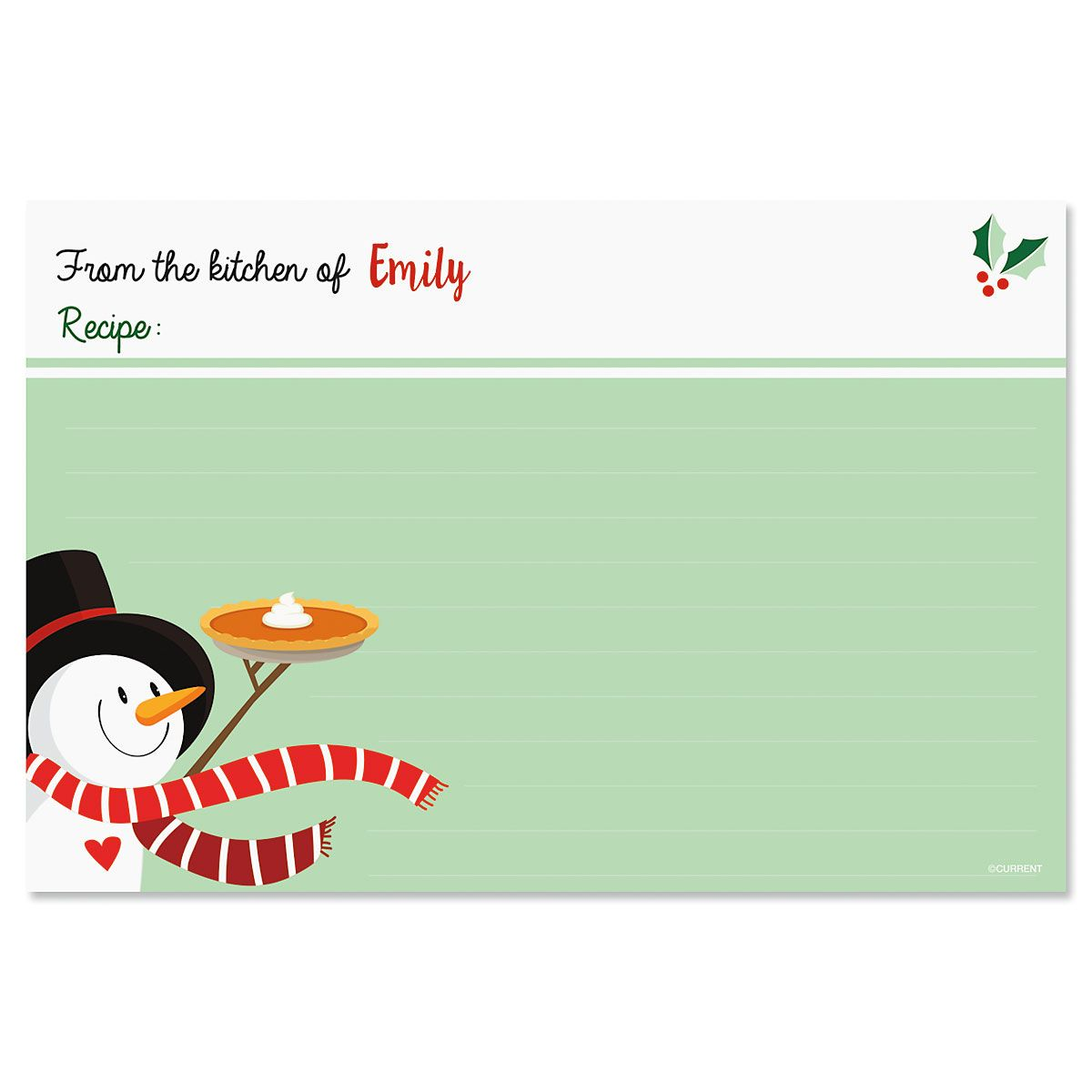 Snowman Personalized Recipe Cards