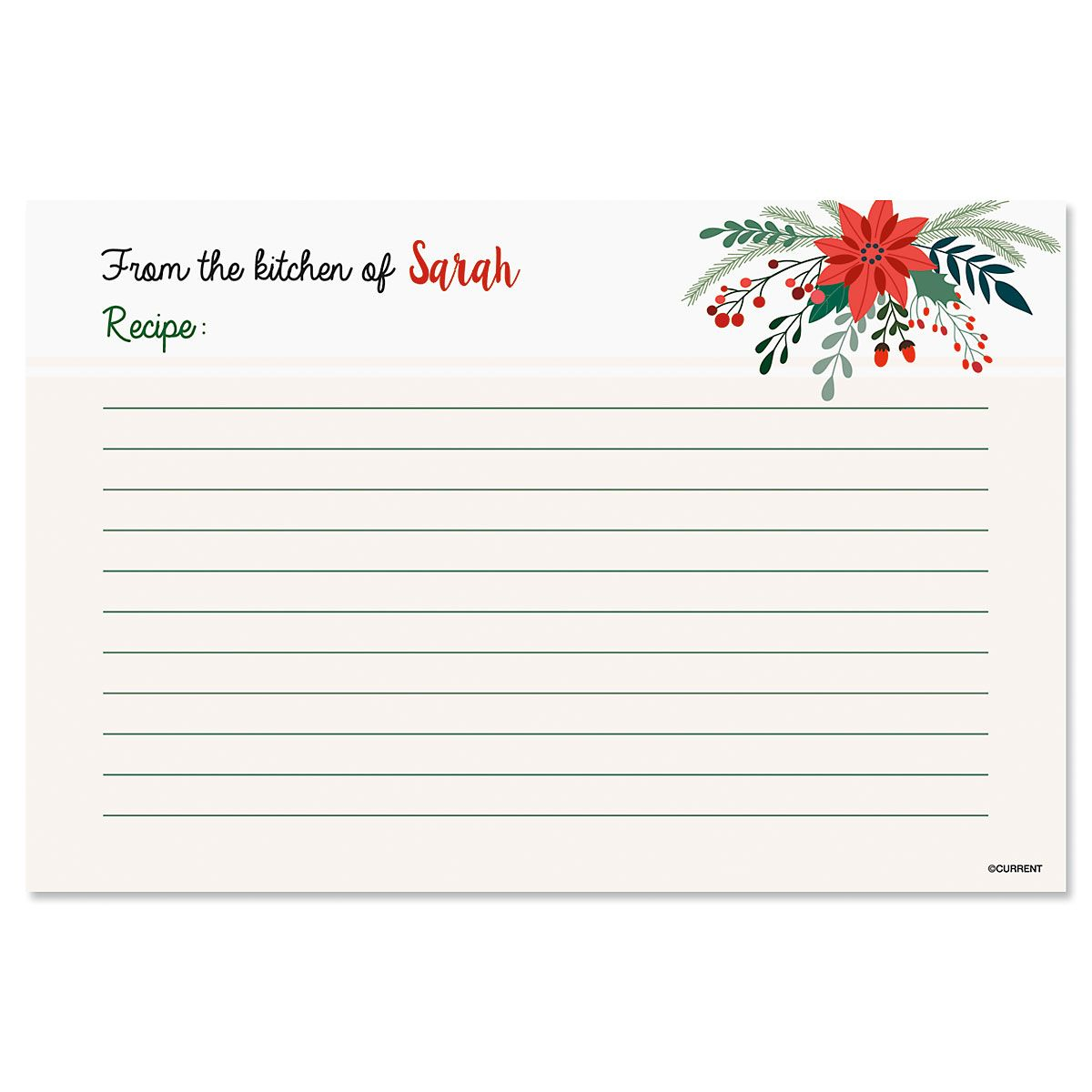 Greenery & Holly Personalized Recipe Cards