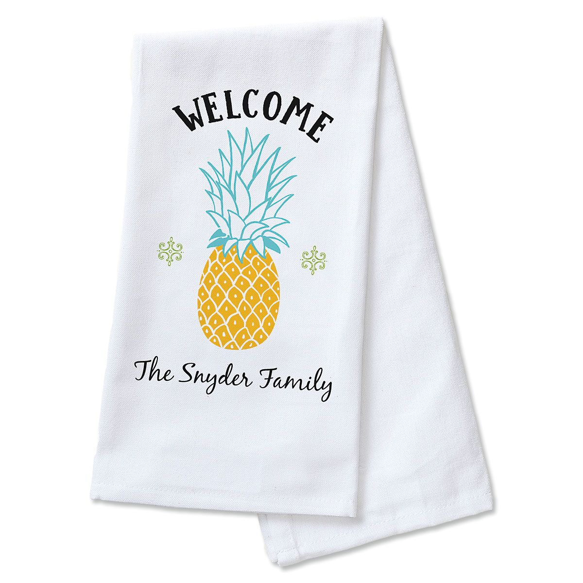 Welcome Pineapple Personalized Kitchen Towel