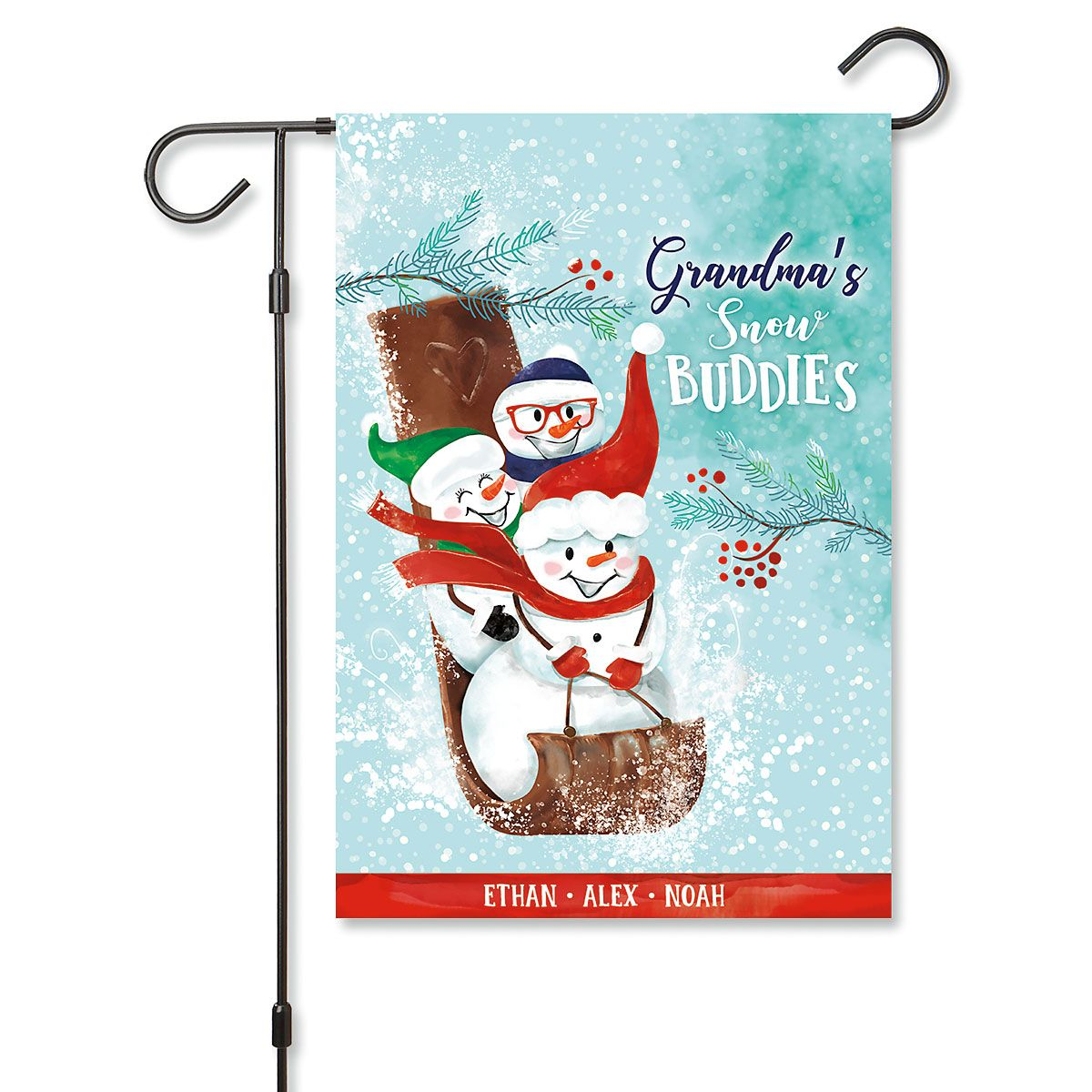 Grandma's Sled Personalized Garden Flag