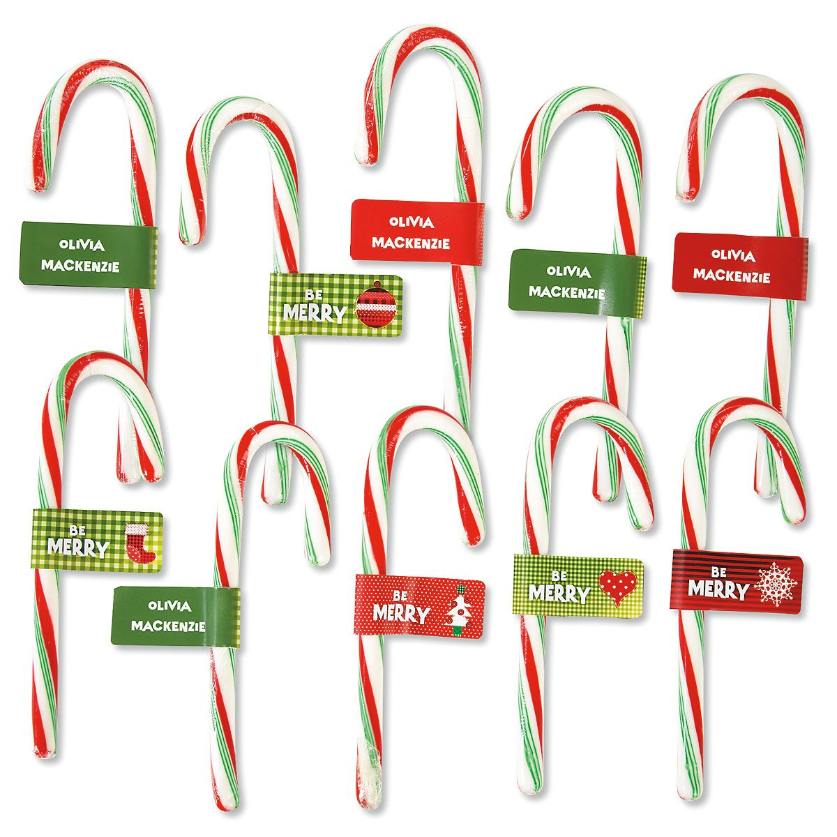 Candy Cane Personalized Christmas Labels