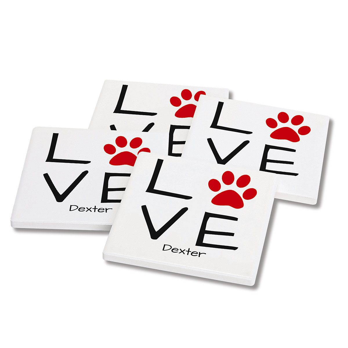 Pawprint Personalized Ceramic Coasters
