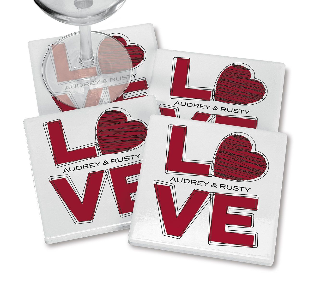 Love Personalized Ceramic Coasters