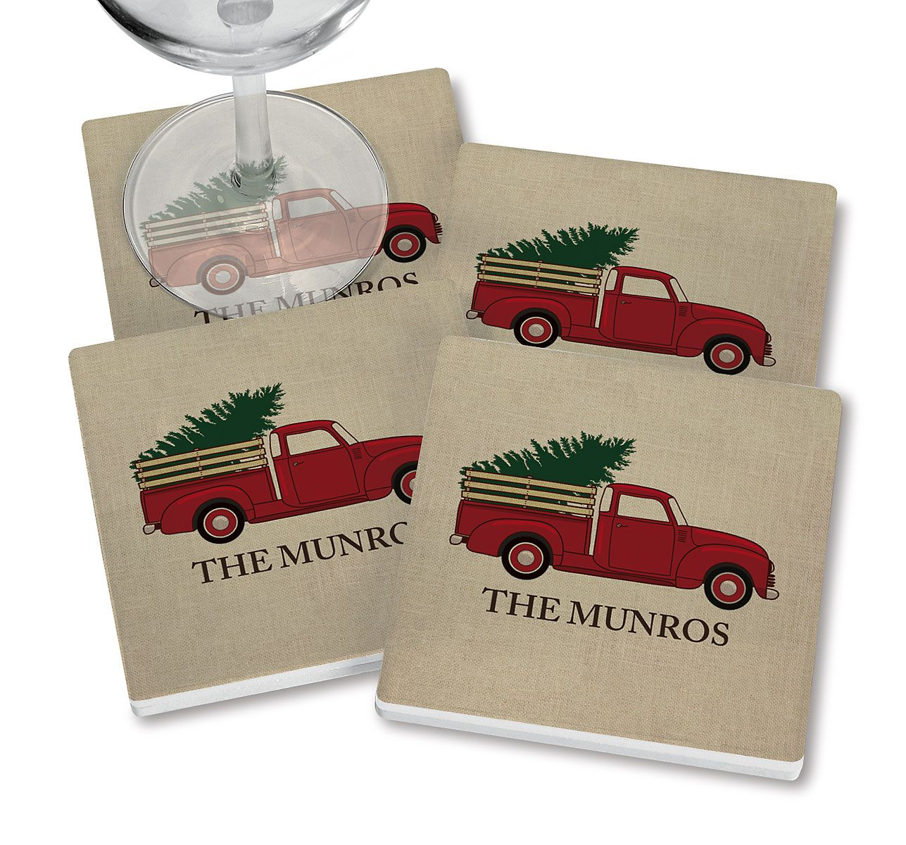 Red Truck Personalized Ceramic Coasters