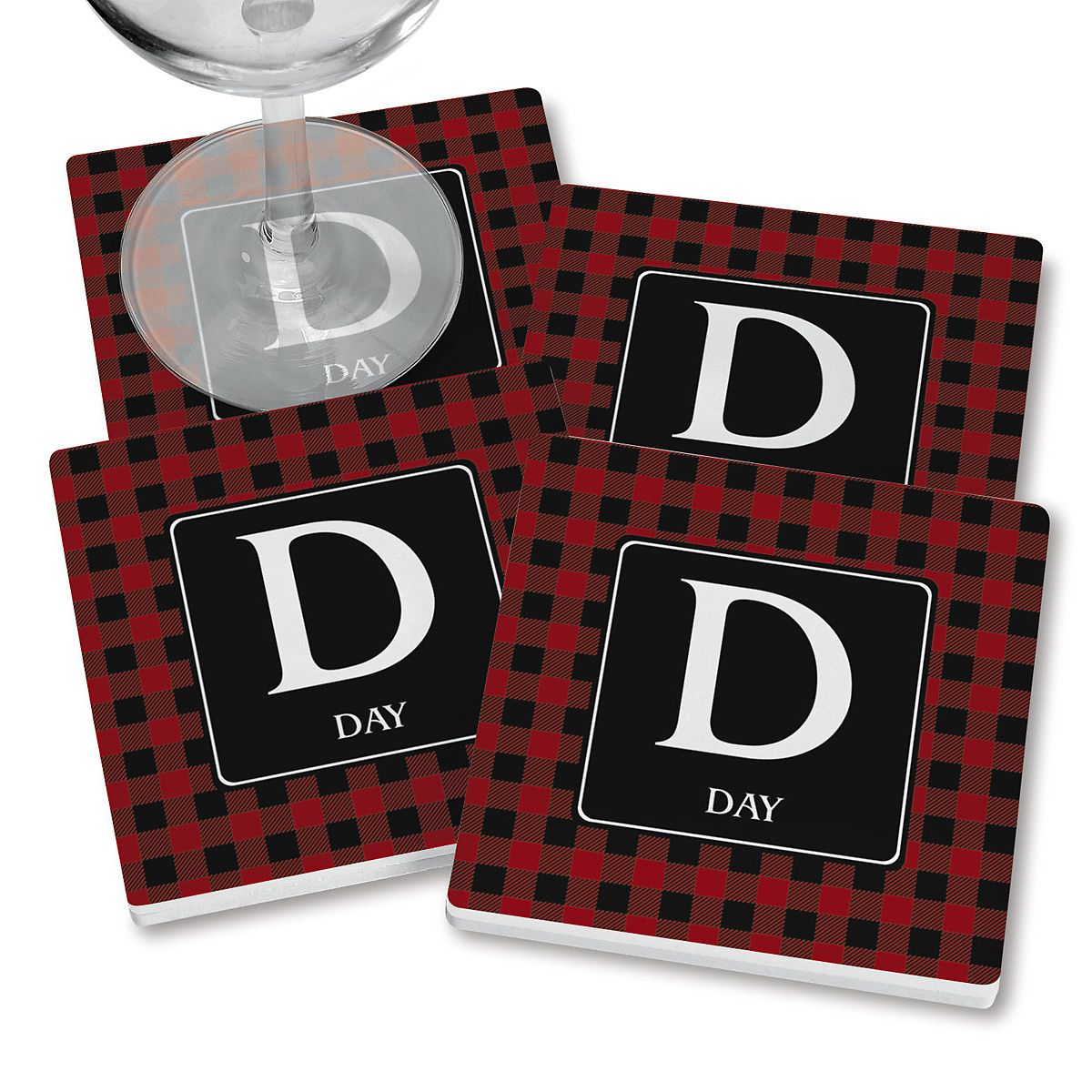 Red Plaid Personalized Ceramic Coasters