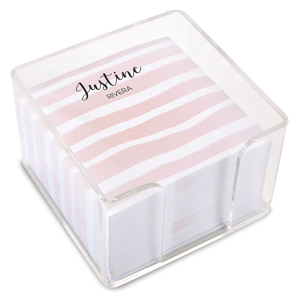 Island Stripes Personalized Note Sheets in a Cube (4 Colors)