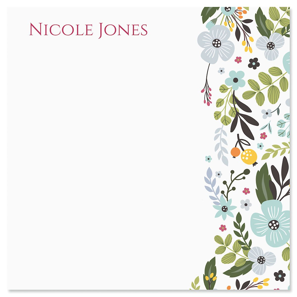 Aubrey Floral Personalized Note Sheets in a Cube