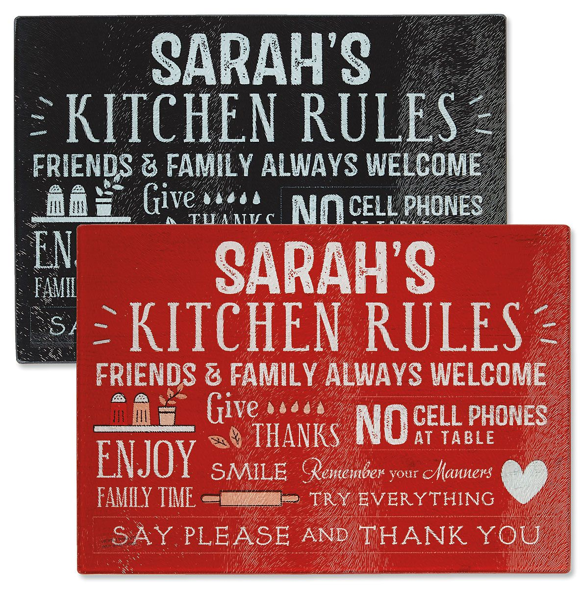 Kitchen Rules Tempered Glass Cutting Board