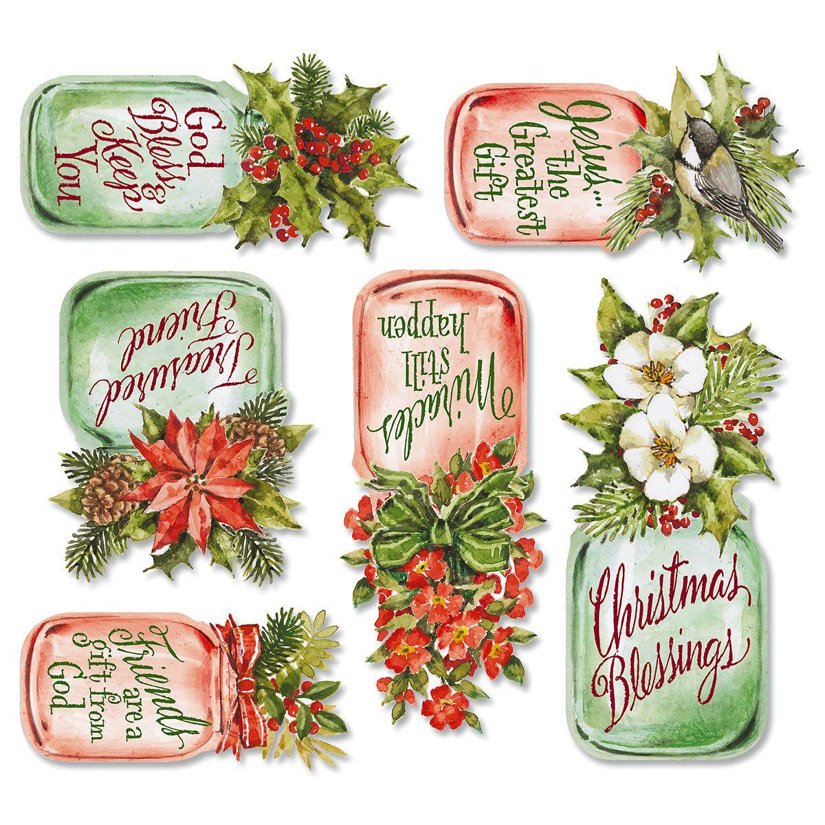 Christmas Mason Jar Magnets Festive holiday bouquet jars feature faith sentiments. Flexible vinyl magnets range from 2 -3 3/4 H. Great stocking stu?ers! Set of 6