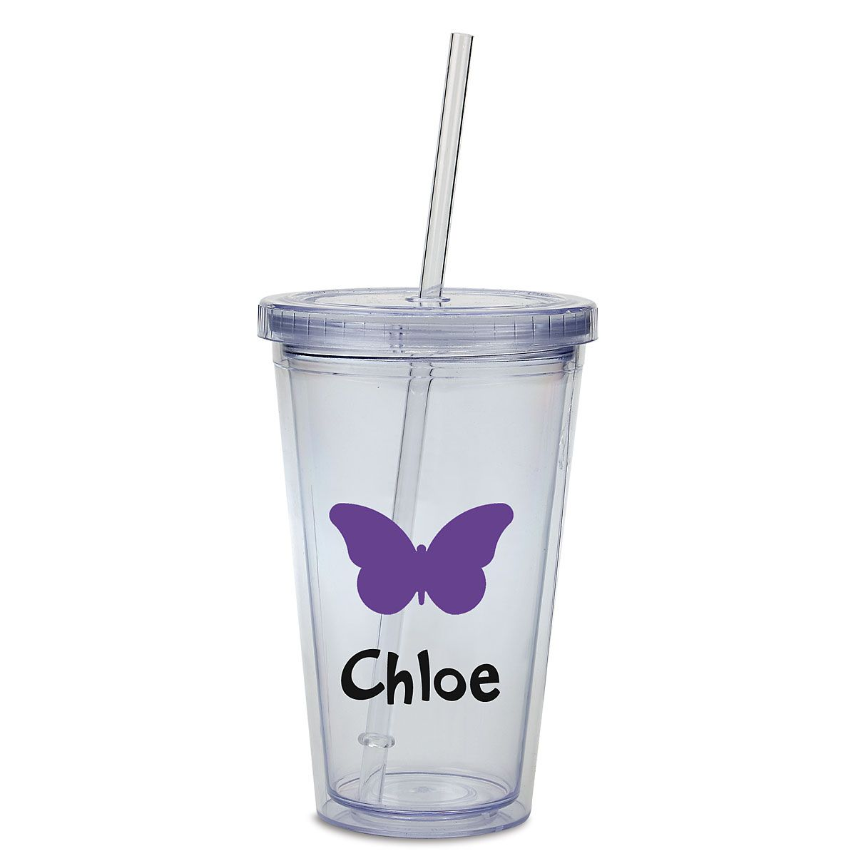 Butterfly Acrylic Personalized Beverage Cup