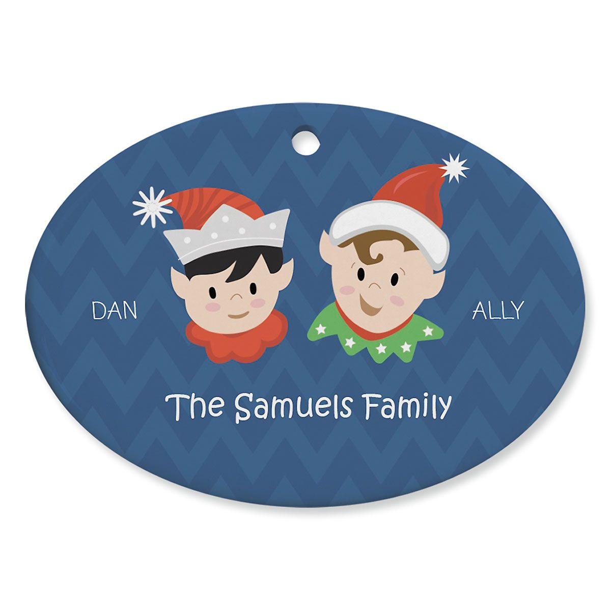 Elves Family Personalized Ceramic Ornament