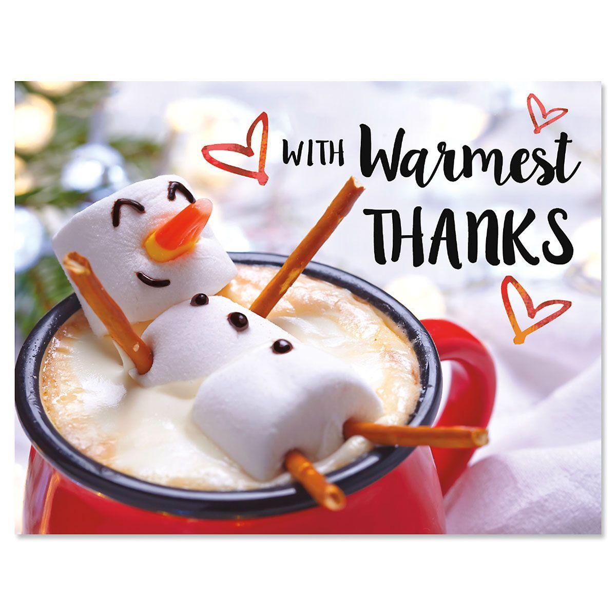 Marshmallow Snowman Thanks Note Cards - BOGO