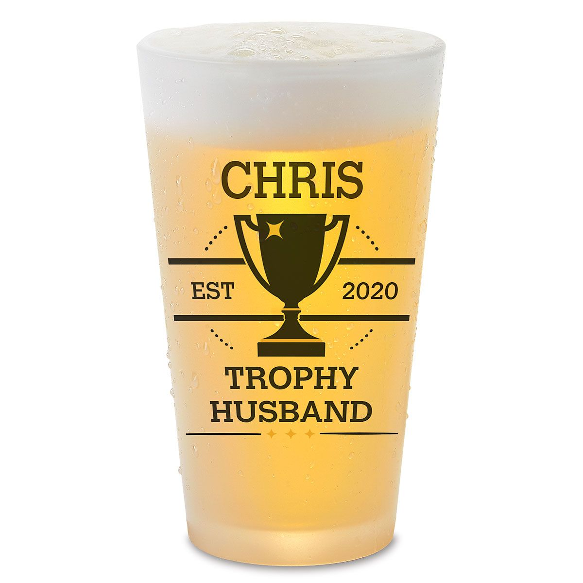 Trophy Husband Personalized Pint Beer Glass