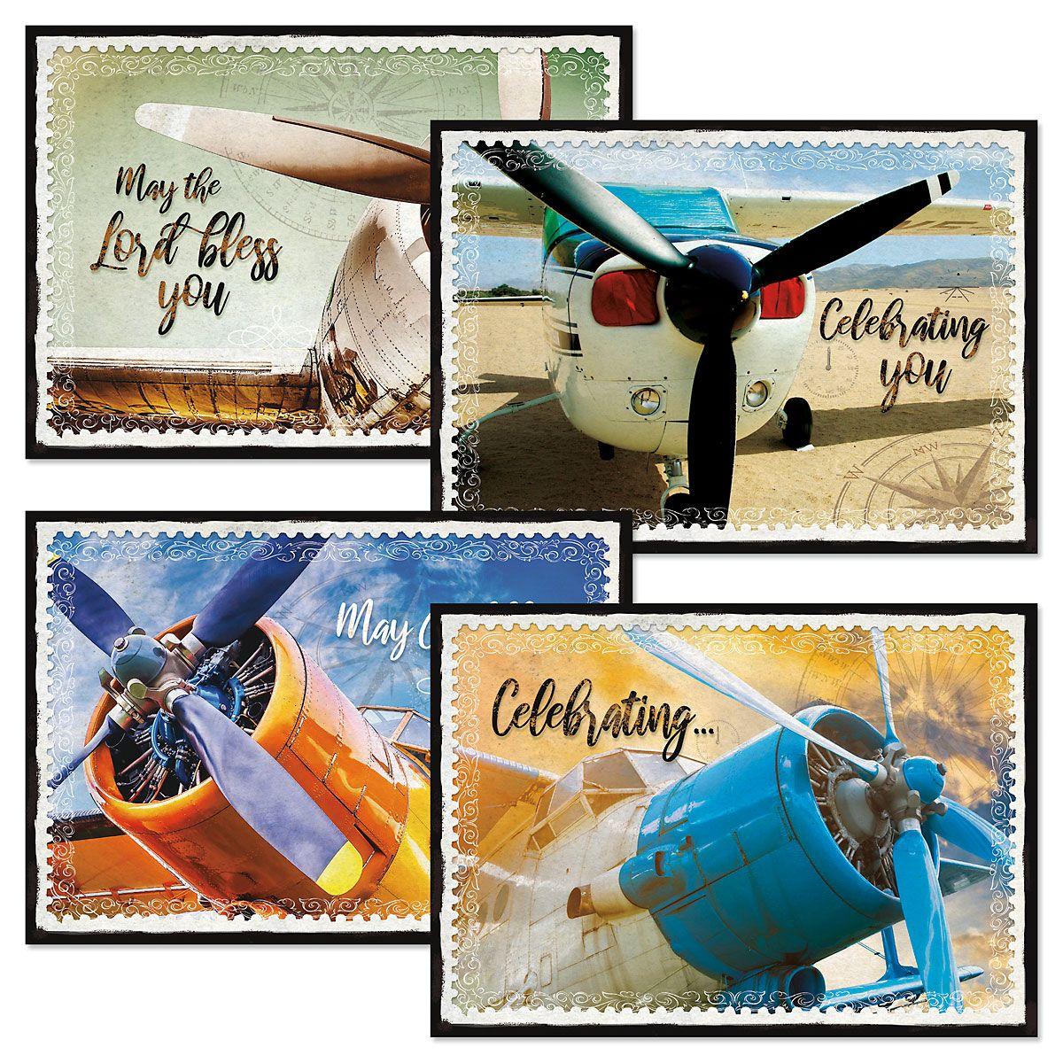 Retro Planes Birthday Cards and Seals
