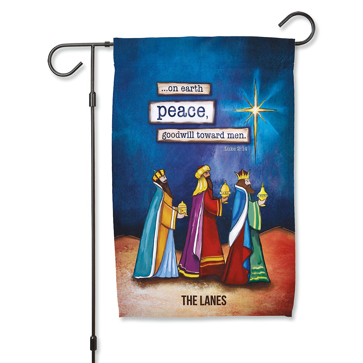 Three Kings Christmas Personalized Garden Flag