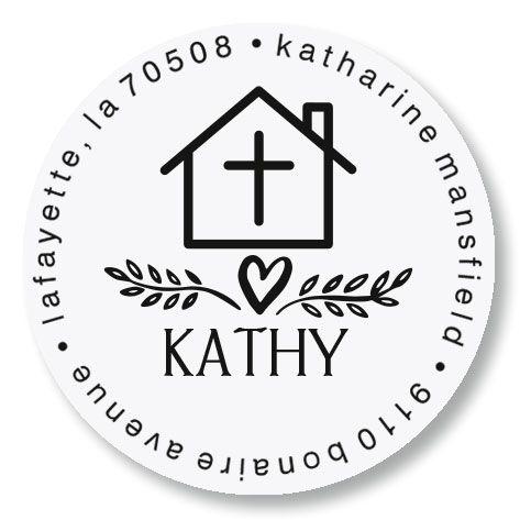Cross Personalized Round Address Stamp