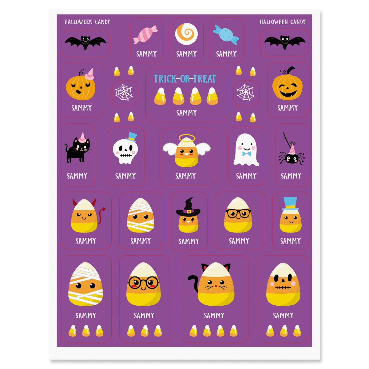 Personalized Halloween Candy Corn Stickers