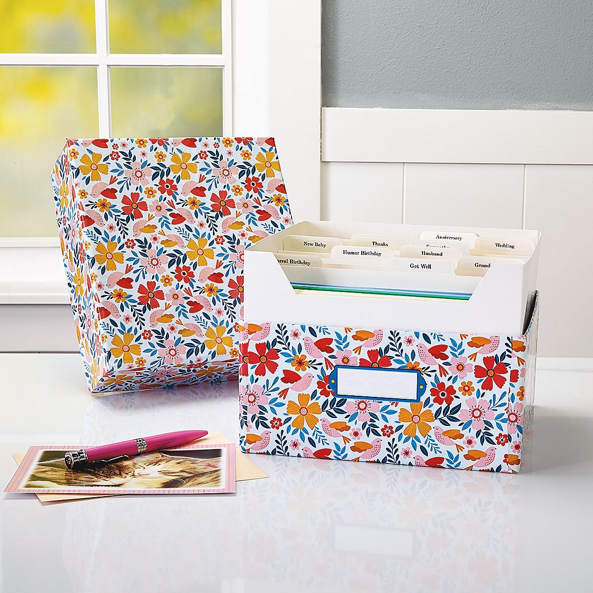 Blossom Greeting Card Organizer Box and Labels