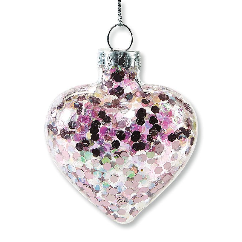 Glitter Heart Ornaments
