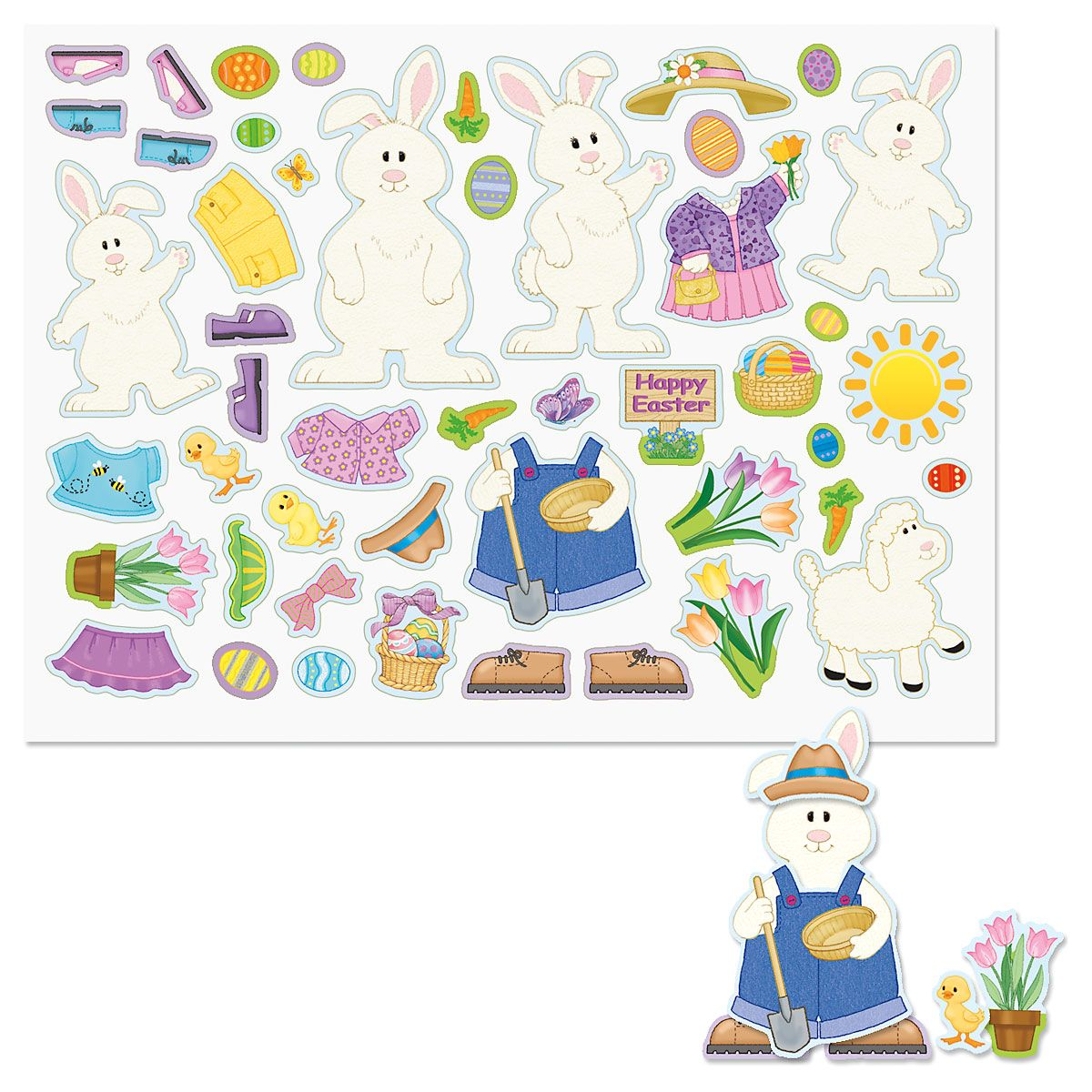Decorate-Your-Own Bunny Sticker Sheets - BOGO