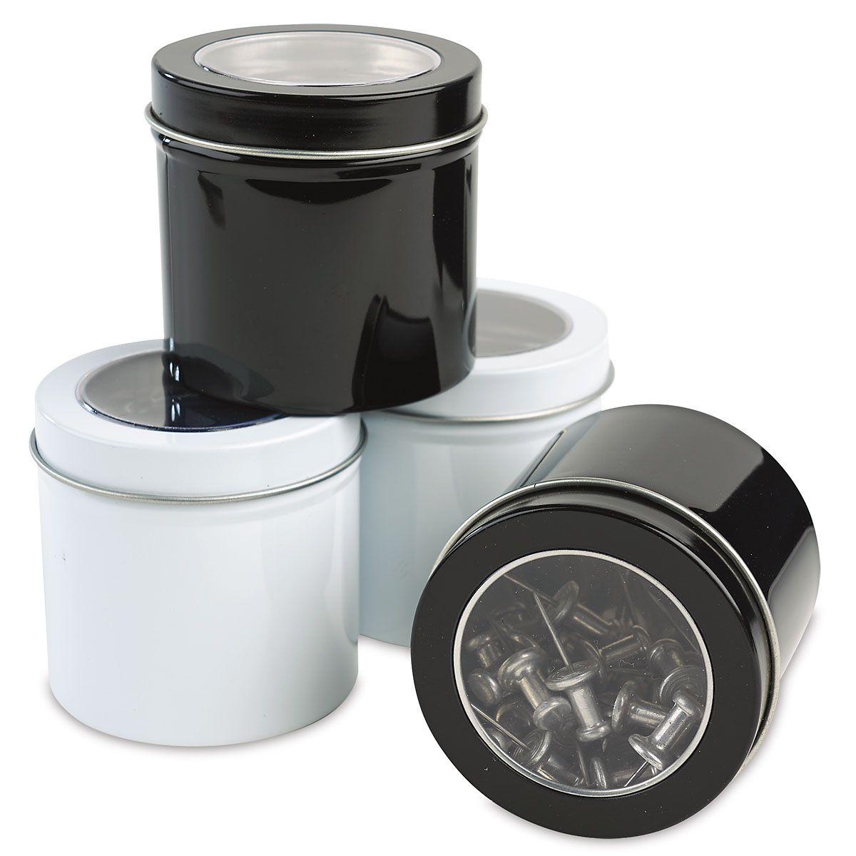 Magnetic Mini Containers Stash paperclips, rubber bandssmall desk top clutter. Tin plate; 2 black, 2 white; not food safe. Contents not included. Set of 4