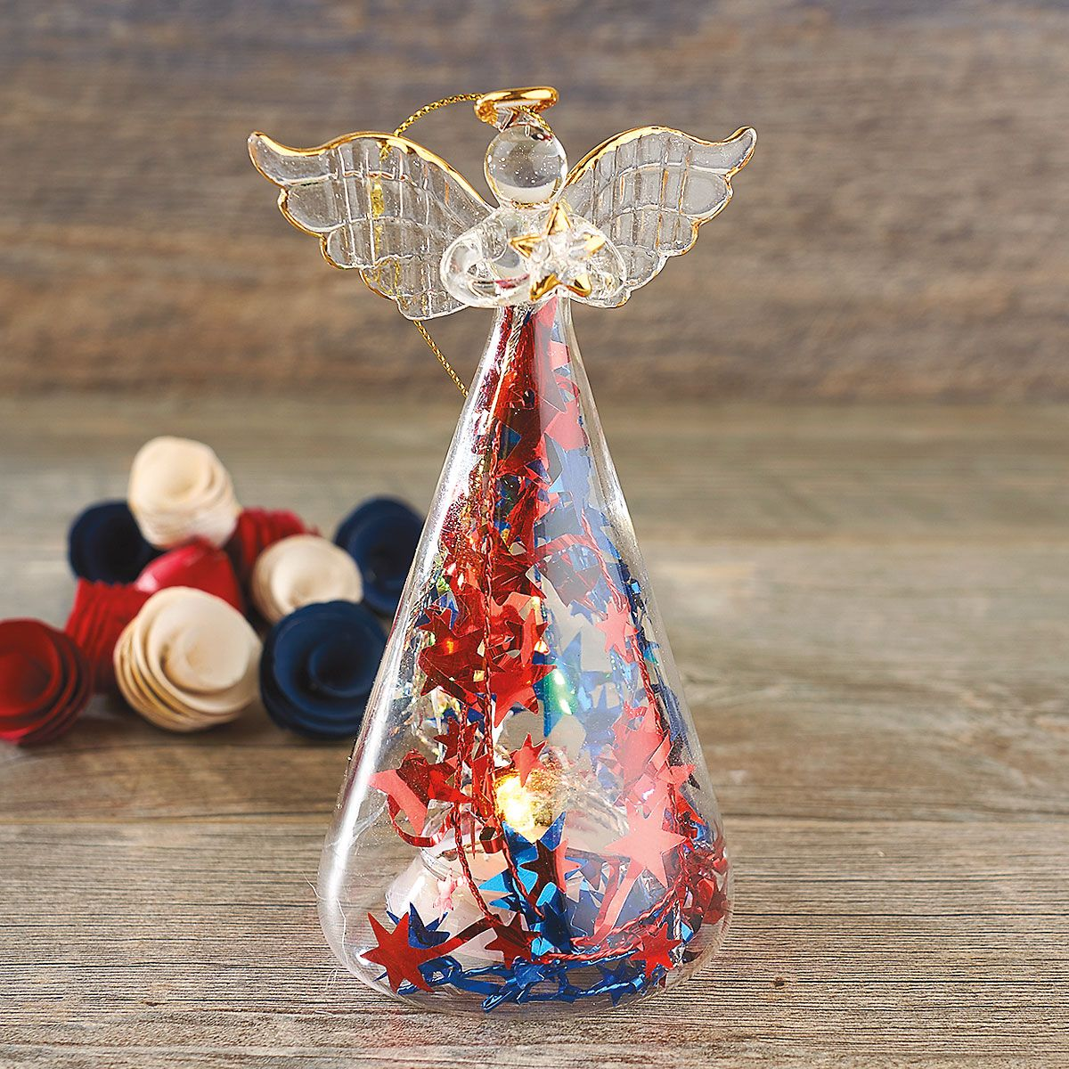 LED Patriotic Glass Angel