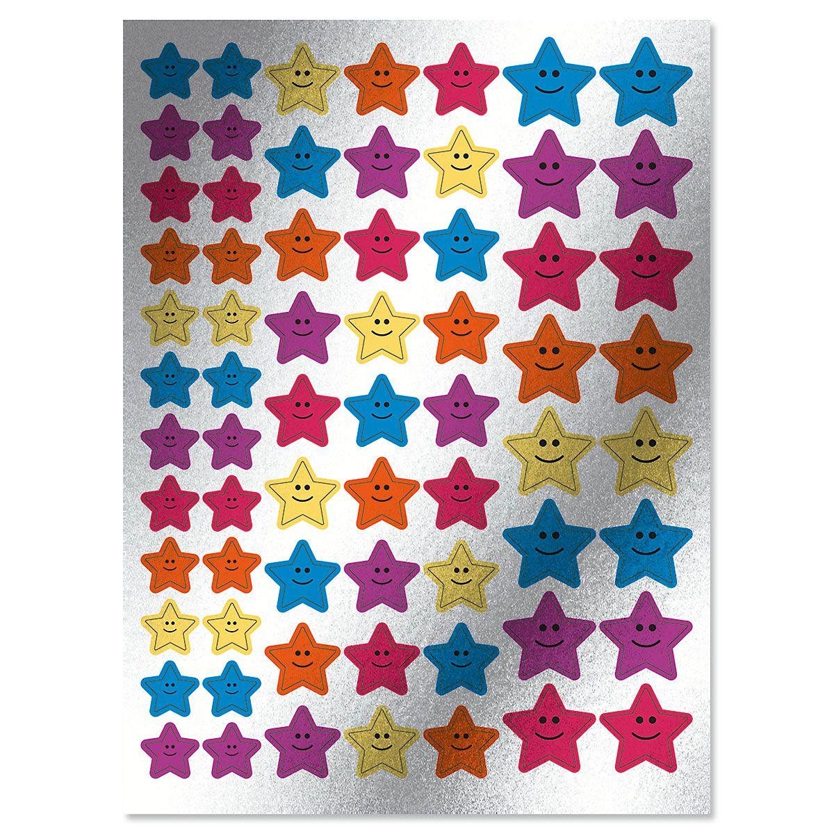 Smiling Motivational Star Foil Stickers