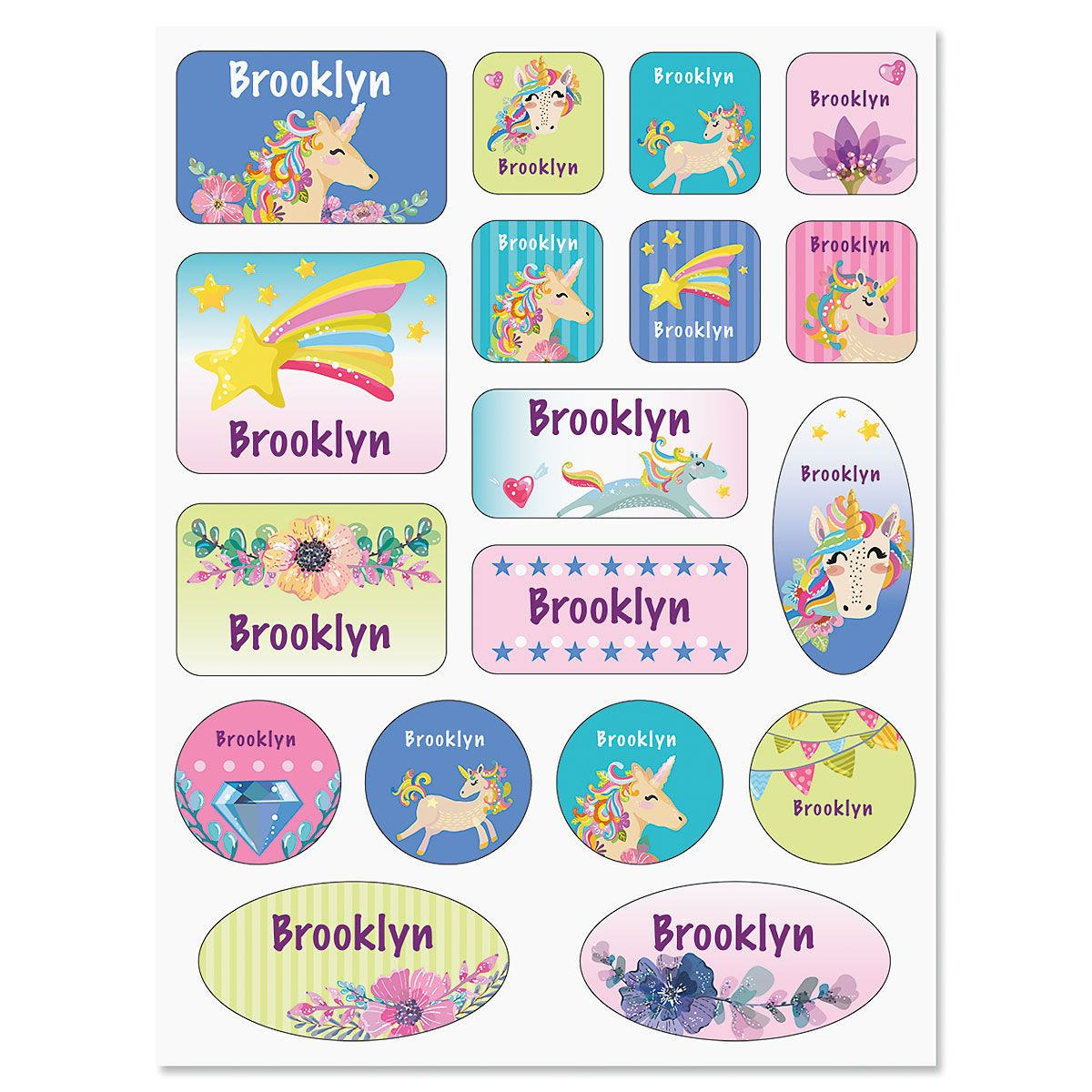 Unicorn & Rainbow Personalized Stickers