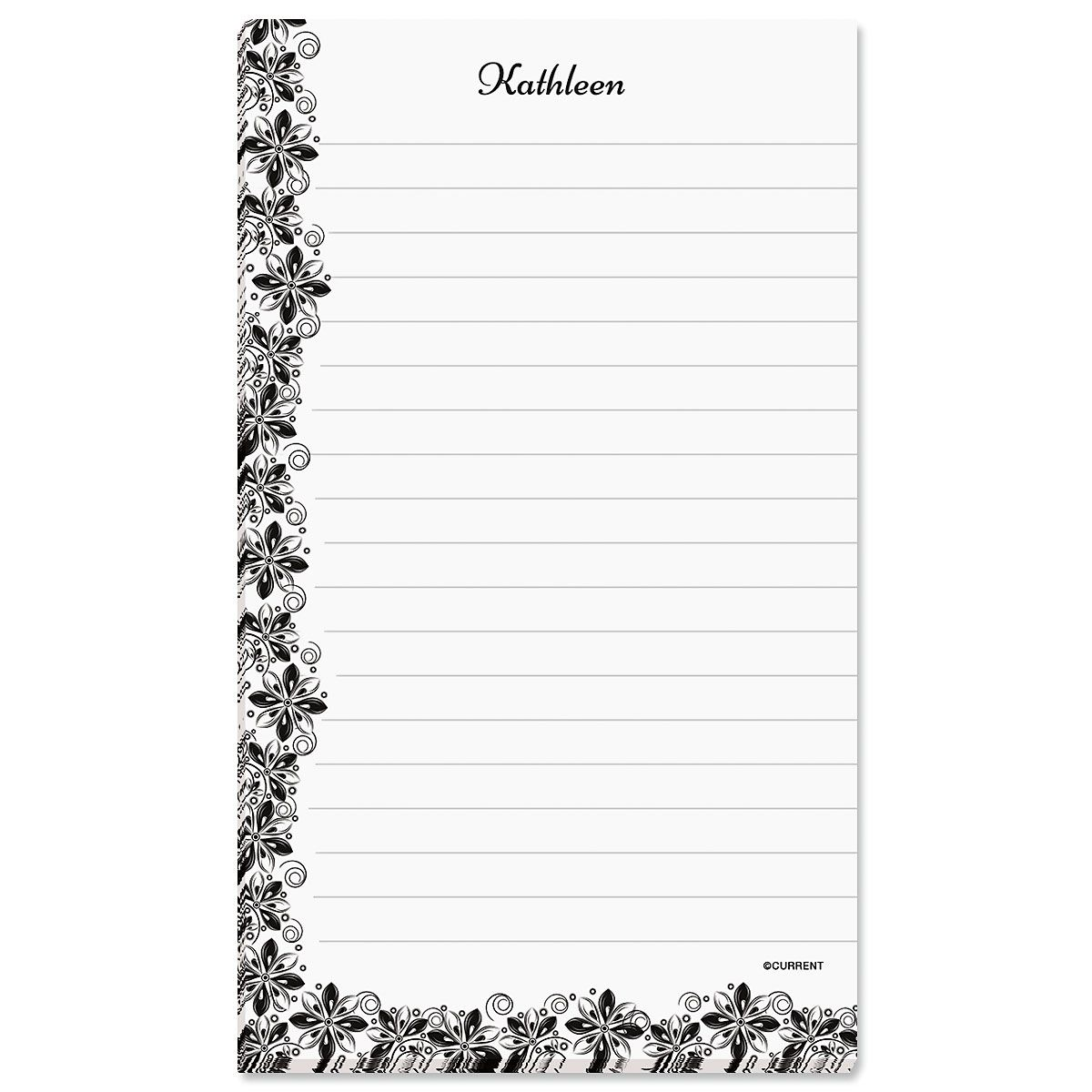 Black & White Floral Personalized Notepad