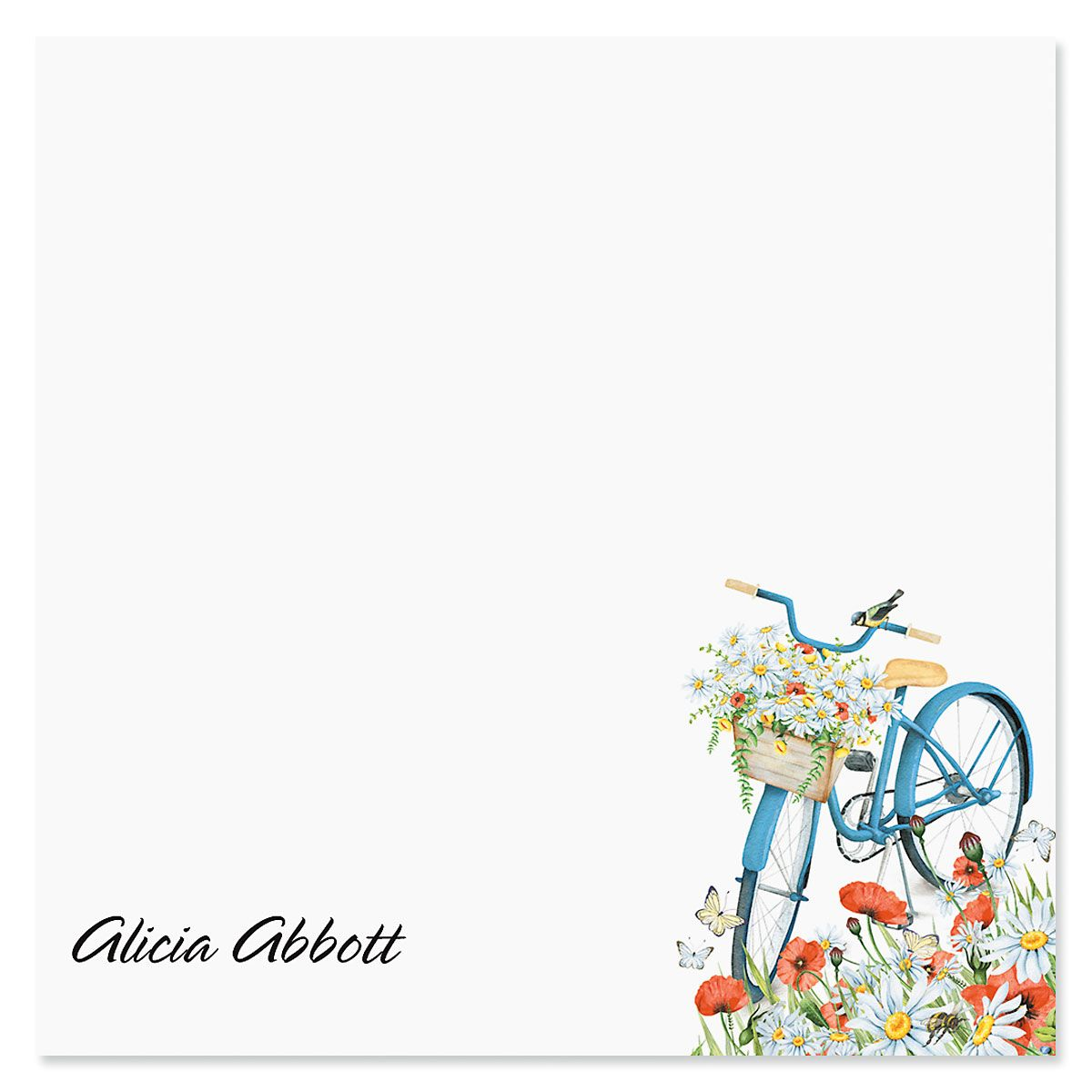 Floral Bicycle Personalized Note Sheets in a Cube